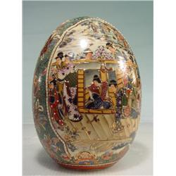 "Asian Style Fabriche Egg with Painted Scene 8"" Tall"