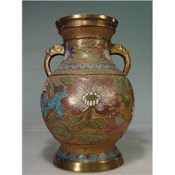 "Asian Cloisonné Multi-Colored Enamel Brass Vase 12"" Tall"