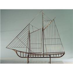 "1970's Modern Art Hand Sculpted Sail Boat (Designed by Curtis Jere) 36"" Tall"