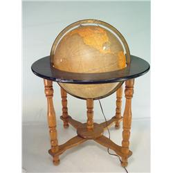 "Antique Light Up Glass Globe with Wood Base 32"" Tall"