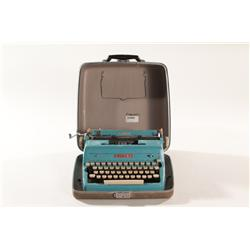 Vintage Mid Century Modern Green Enamel Royal Portable Typewriter with Case