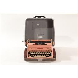 Vintage Mid Century Modern Pink Enamel Royal Portable Typewriter with Case
