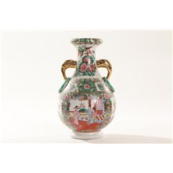 Large Asian Style Flute Neck Vase with Scenic Painting Along the Front