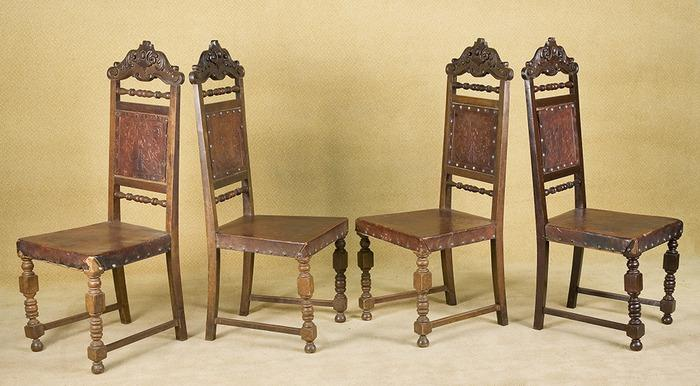 ... Image 2 : Vintage Tooled Leather Medieval Style High Black Chairs