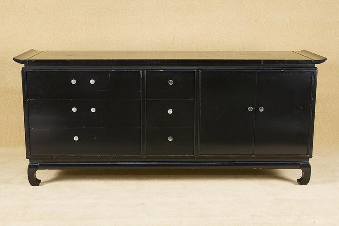 Image 1 : Vintage Black Lacquer Asian Style Console Table ...