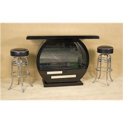 Vintage 1980's Black Lacquer Bar with a pair of Chromes 1950's Bar Stools