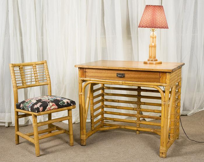 Vintage 1940 S Tropical Rattan Style Desk Set With Table