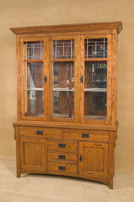 Vintage Arts and Crafts Style China Cabinet with Leaded Glass Pattern