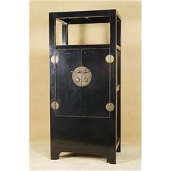 Black Lacquer Chinese Cabinet with Brass Accents