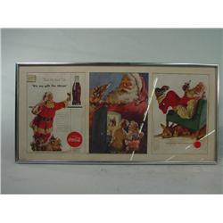 landscape Style Chrome Framed 3 Page Coca Cola AD  with Santa Clause
