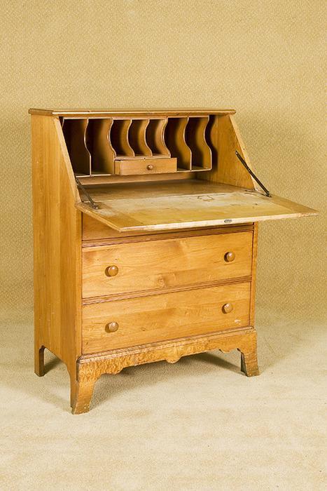 vintage blonde secretary desk with 3 drawers. Black Bedroom Furniture Sets. Home Design Ideas