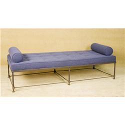 Vintage Black Wire Frame Bench with Blue cushion and Arm Cushions