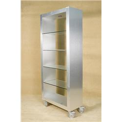 Ulta Modern Stainless Steel Covered Shelf with Glass Shelving