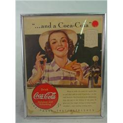 Small Chrome Framed Coca Cola AD  with Milk Shake Pin Up Girl