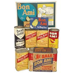 "General store shelf stock, Bon Ami cleansers (7), Bon Ami cdbd sign & small ""Its Many Uses"" brochure"