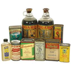 Spice tins & flavorings (10 pcs), includes Parrot Allspice-St. Paul, MN, Harley Pepper-Dayton, OH, B