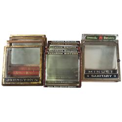 Country store biscuit box tops w/hinged lids (12), various brands, metal w/glass fronts, most in VG