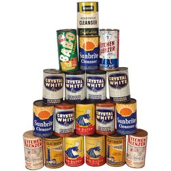 Country store cleanser cans (19 pcs), Old Dutch, Lighthouse, Kitchen Klenzer, Crystal White, Sunbrit