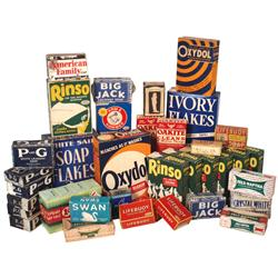 Country store soaps (40 pcs), Rinso, Oxydol, White Sail, Ivory, Arm & Hammer, Oakite, Big Jack, P&G,