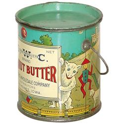 Peanut butter pail from Grocers'  Wholesale Co.-Des Moines, IA, colorful litho on tin w/wonderful ch