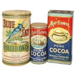 May-Flower Cocoa containers from Marshall Canning Co.-Marshalltown, IA & Blue Jay Rolled Oats from M