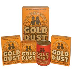 General store shelf stock, Black Americana Fairbank's Gold Dust Washing Powder (4 full boxes) & 1 ca