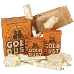General store shelf stock, Black Americana Gold Dust products, 6 Gold Dust Moppets w/store window pa