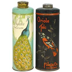 Talcum tins (2), Nylotis Talcum by Nyal Co.-Detroit &amp; Oriole Talc by Foley &amp; Co.-Chicago, both full 