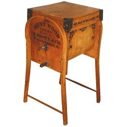 The Bentwood Churn #1, mfgd by M. Brown & Co., Wapakometa, O., 6 gal, Exc cond w/wonderful stencilin
