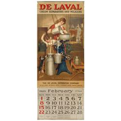 DeLaval Cream Separators & Milkers oversized dealer showroom calendar, 1925 w/Feb-Dec calendar pad,