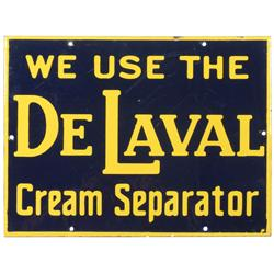 DeLaval  Cream Separator porcelain sign, cobalt blue & yellow, Exc cond w/some light scratches, 12.5