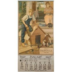 DeLaval calendar, 1927 w/full pad from McLoone Bathke Brown Co.-Waseca, MN, reverse side shows milke