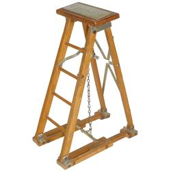 Salesman's sample folding ladder, mfgd by Flmaco Mfg Corp-Watseka, IL, Pat. No. 2743049, wood & meta