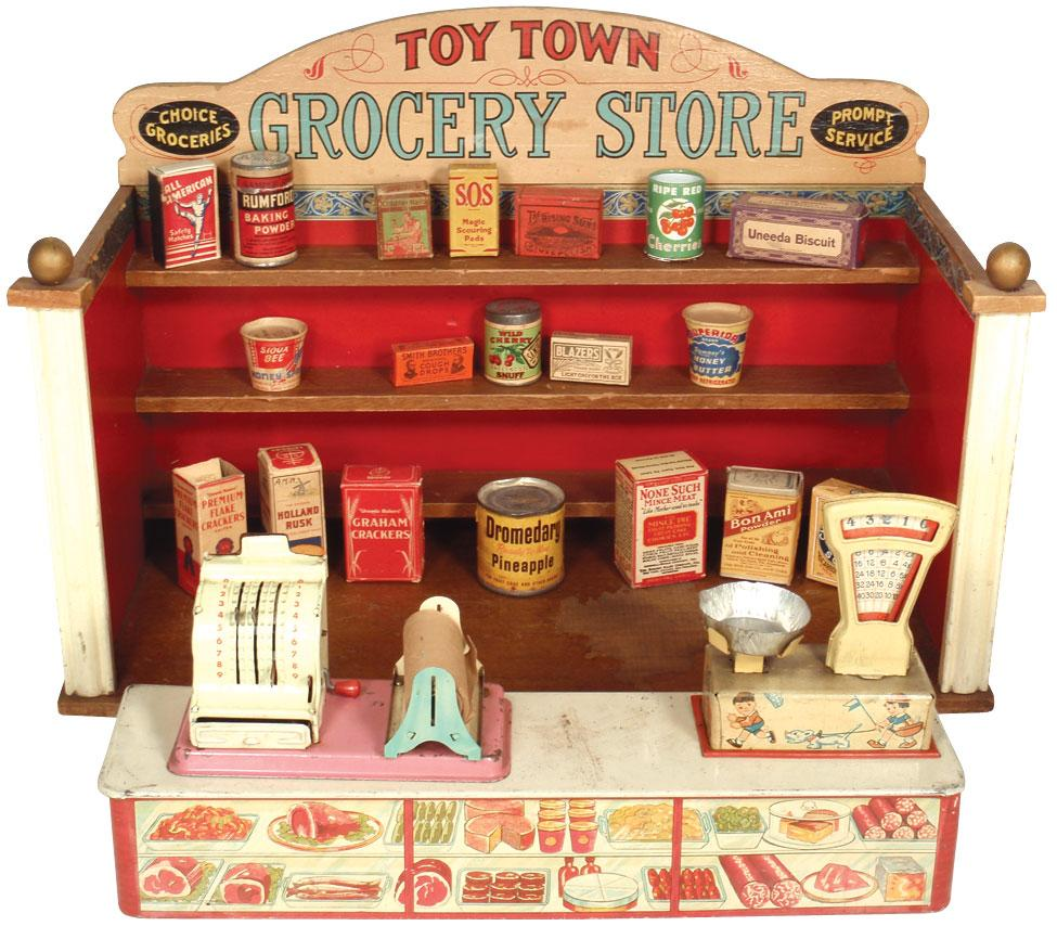 Toy Town Grocery Store By Parker Brothers, Colorful Litho On Paper Over  Wood Store W. Loading Zoom