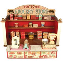 Toy Town Grocery Store by Parker Brothers, colorful litho on paper over wood store w/litho on metal