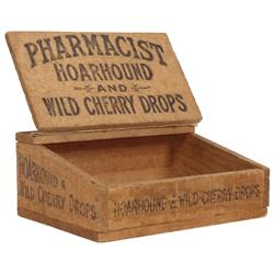 Salesman's sample candy display box, Pharmacist Hoarhound and Wild Cherry Drops slanted wooded box w