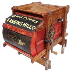 "Salesman's sample or miniature fanning mill, wood, marked ""Owatonna Fanning Mill Co."" w/much of its"