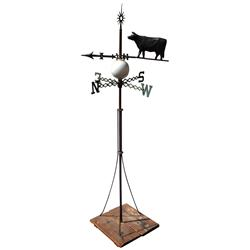 Weathervane w/zinc cow & directionals, orig milk glass lightening ball & roof stanchion, mfgd/or sol