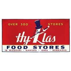 Hy-Klas Food Stores embossed metal sign from the Mid-West states of MO, KS, IA & NE, colorful, VG to