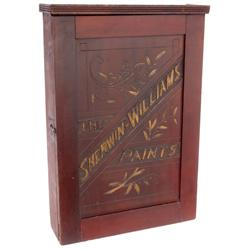 Sherwin-Williams Paints hanging cabinet, wood w/pressed advertising door w/old salamander logo, orig
