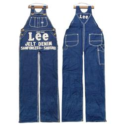 Lee Denim overalls oversized store display, gigantic pair of Lee Jelt Denim Sanforized-Shrunk overal