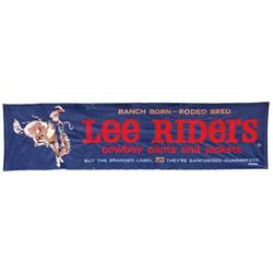 Lee Riders Cowboy Pants & Jackets denim store banner w/felt letters, wonderful cowboy on bucking bro