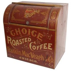 Franklin MacVeagh & Co. Coffee-Chicago metal coffee bin w/orig red paint & fancy gold stenciling, Ex