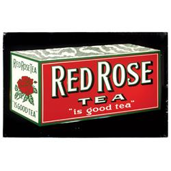 "Red Rose Tea sign, litho on embossed metal w/colorful tea box graphics, Exc cond, 19.5""H x 29.5""W."