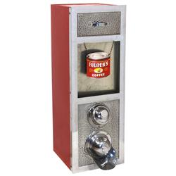 Country store coffee bean dispenser w/chrome-plated front & red paint finish, beautifully restored &