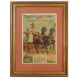 "Palace Livery Stable 1911 calendar, W.S. Riddel, Prop., ""First Class Rigs-Drives Made Day or Night"","