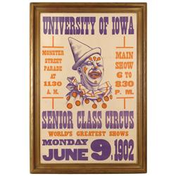 University of Iowa Senior Class Circus poster dated 1902, a Rare poster w/large clown graphic in pur