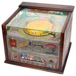 "Coin-operated horserace game, Rock-Ola Sweepstakes w/gumball vendor, 1 Cent, VG working cond, 12""H x"