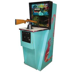 "Coin-operated arcade machine, Midway's 1 Million BC Target Shoot, VG working cond, 70""H x 26""W x 47"""
