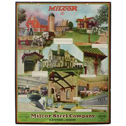 Milcor Steel Co.-Canton, OH heavy cdbd sign, pictures ornamental steel products made, dated 1931, Ex